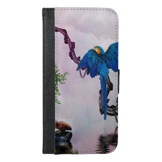 Wonderful blue parrot iPhone 6/6s plus wallet case