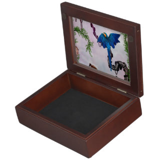 Wonderful blue parrot keepsake box