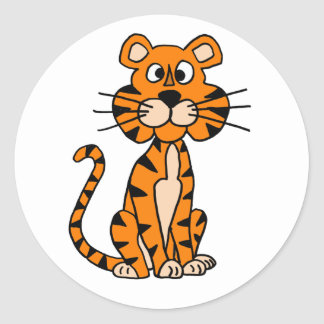 Wonderful Cartoon Tiger Design Classic Round Sticker