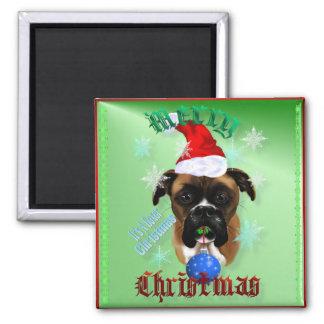 Wonderful-Christmas Boxer Dog Magnets
