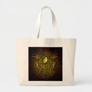Wonderful crow with tribal and flame jumbo tote bag
