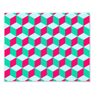 wonderful cube pattern abstract magenta and mint photo