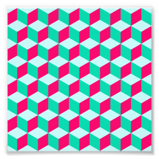 wonderful cube pattern abstract magenta and mint photographic print