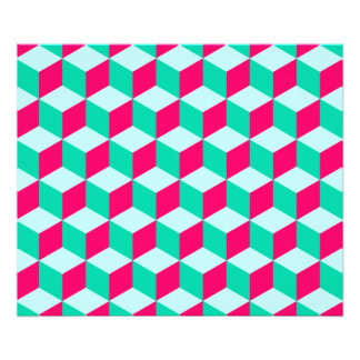 wonderful cube pattern abstract magenta and mint photograph