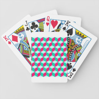 wonderful cube pattern abstract  magenta and  mint poker deck