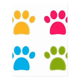 Wonderful dogs paws colored edition postcard