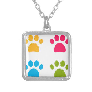Wonderful dogs paws colored edition silver plated necklace