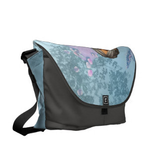 Wonderful fairy with fantasy birds messenger bags