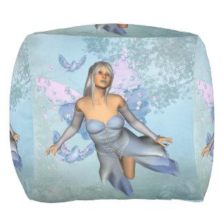 Wonderful fairy with fantasy birds pouf