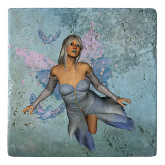 Wonderful fairy with fantasy birds trivet