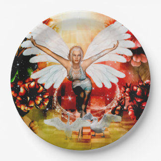Wonderful fairy with swan paper plate