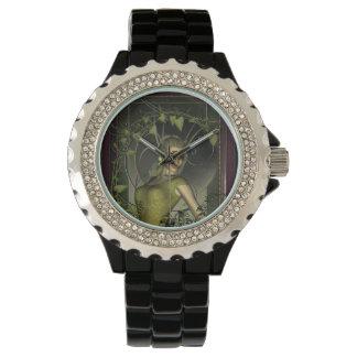 Wonderful fantasy women with leaves wristwatch