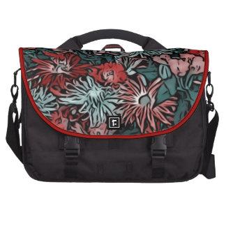 wonderful flowers paint red commuter bag