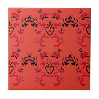 Wonderful Folk design Orange Ceramic Tile