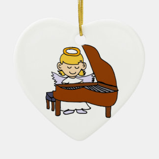 Wonderful Girl Angel Playing Piano Ceramic Heart Decoration
