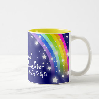 """Wonderful Granddaughter"" rainbow navy blue mug"