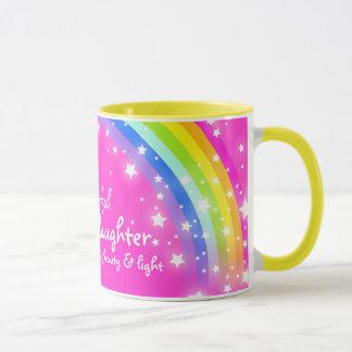 """Wonderful Granddaughter"" rainbow pink mug"