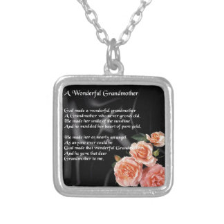 Wonderful Grandmother Poem - flowers on black Silver Plated Necklace