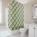 Wonderful Green Arts & Crafts Geometric Pattern Shower Curtain