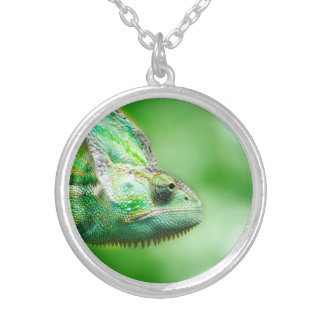 Wonderful Green Reptile Chameleon Silver Plated Necklace