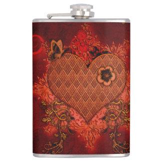 Wonderful heart hip flask