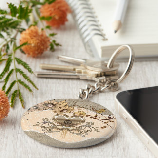 Wonderful heart with flowers basic round button key ring