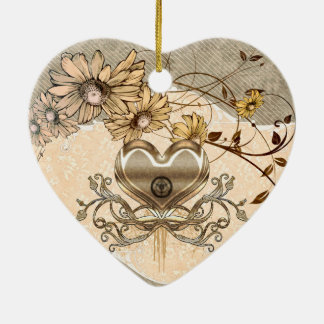 Wonderful heart with flowers ceramic heart decoration