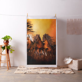 Wonderful horses running by a forest fabric
