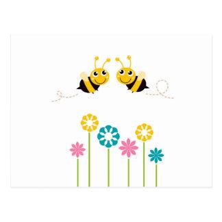Wonderful little cute Bees yellow Postcard