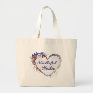 Wonderful Mother Floral Heart Gifts Jumbo Tote Bag