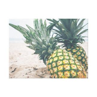wonderful ocean sand and pineapples canvas print