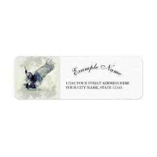 Wonderful owl in watercolor return address label