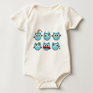 Wonderful owls blue on white baby bodysuit