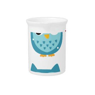 Wonderful owls blue on white pitcher