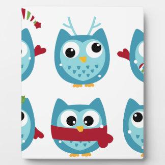 Wonderful owls blue on white plaque