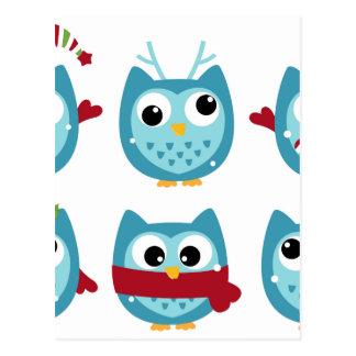 Wonderful owls blue on white postcard