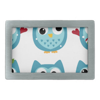 Wonderful owls blue on white rectangular belt buckle