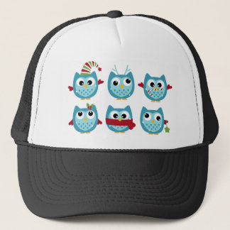 Wonderful owls blue on white trucker hat
