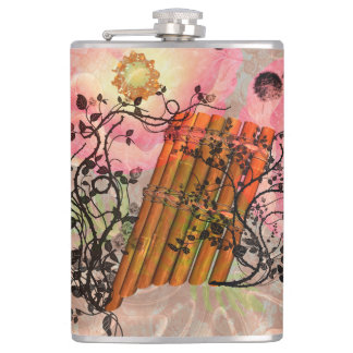 Wonderful panflute with roses an soft background hip flask