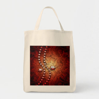Wonderful pearl necklace with flowers grocery tote bag