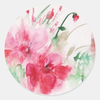 Wonderful pink flowers classic round sticker
