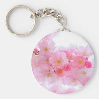 Wonderful Pink Japanese Cherry Blossom Basic Round Button Key Ring