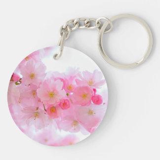 Wonderful Pink Japanese Cherry Blossom Double-Sided Round Acrylic Key Ring