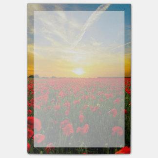 Wonderful Poppy Field Sunset Horizon Post-it Notes
