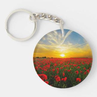Wonderful Poppy Field Sunset Horizon Single-Sided Round Acrylic Key Ring