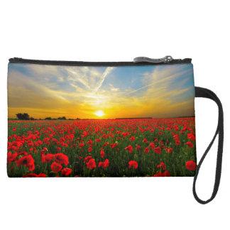 Wonderful Poppy Field Sunset Horizon Suede Wristlet