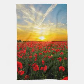 Wonderful Poppy Field Sunset Horizon Tea Towel