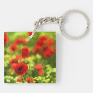Wonderful poppy flowers VI - Wundervolle Mohnblume Double-Sided Square Acrylic Key Ring