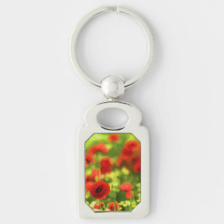 Wonderful poppy flowers VI - Wundervolle Mohnblume Silver-Colored Rectangle Key Ring