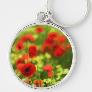 Wonderful poppy flowers VI - Wundervolle Mohnblume Silver-Colored Round Key Ring